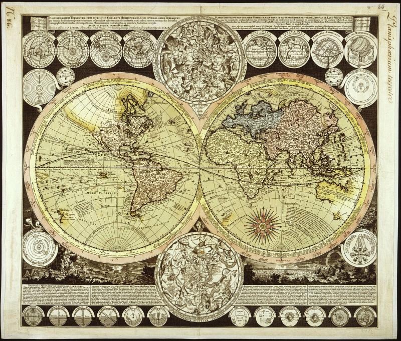 Adam Friedrich Zuerner - Planisphere, 1700. Antique world maps HQ