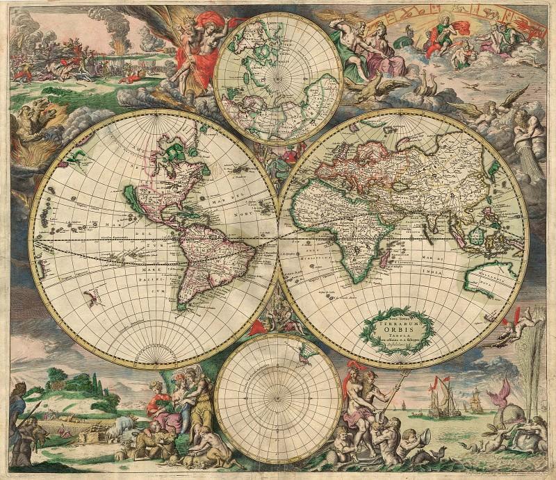 Gerard van Schagen - World Map, 1689. Antique world maps HQ