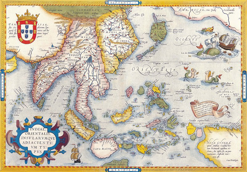 Abraham Ortelius - East Indies, 1570. Antique world maps HQ
