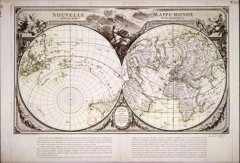 Nicolas-Antoine Boulanger - Nouvelle mappemonde, 1753. Antique world maps HQ