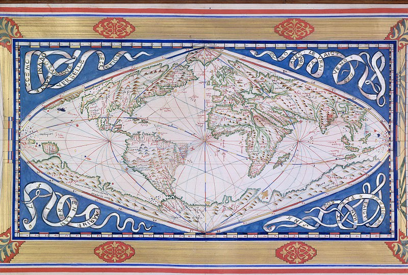 World map made in Dieppe, 1570. Antique world maps HQ