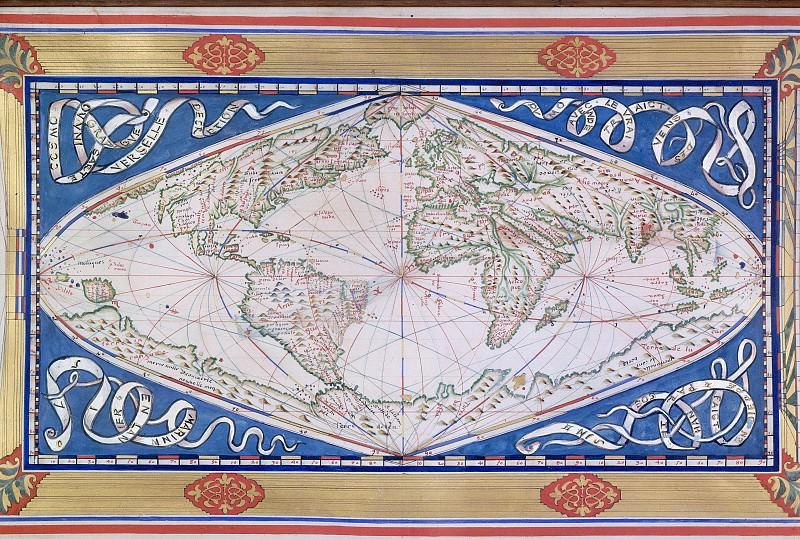 Карта мира из Дьеппа, 1570. Древние карты мира в высоком разрешении - Старинные карты