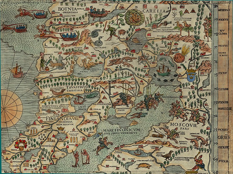 Olaus Magnus - Carta Marina, 1539, Section F: Moscow. Antique world maps HQ