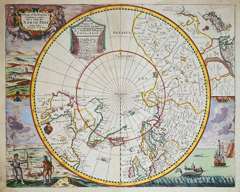 John Seller - A Map of the North Pole. Antique world maps HQ