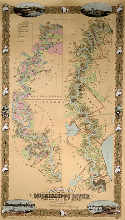 Map depicting plantations on the Mississippi River from Natchez to New Orleans, 1858. Antique world maps HQ