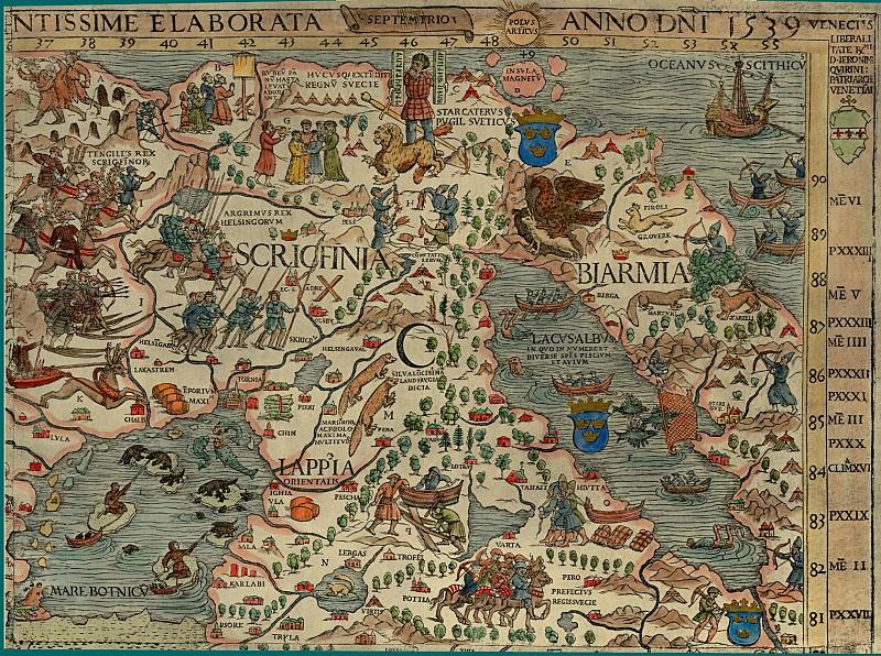 Olaus Magnus - Carta Marina, 1539, Section C: The North Pole. Antique world maps HQ