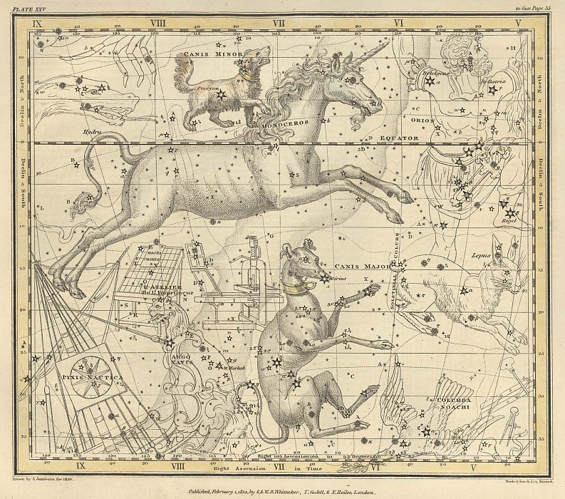 Canis Major, Canis Minor, Monoceros, Argo Navis, l'Atelier de l'Imprimeur, Pyxis Nautica. Antique world maps HQ