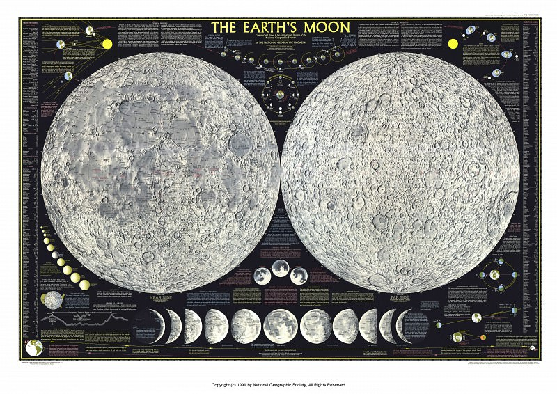 The Earths Moon, 1969. Antique world maps HQ