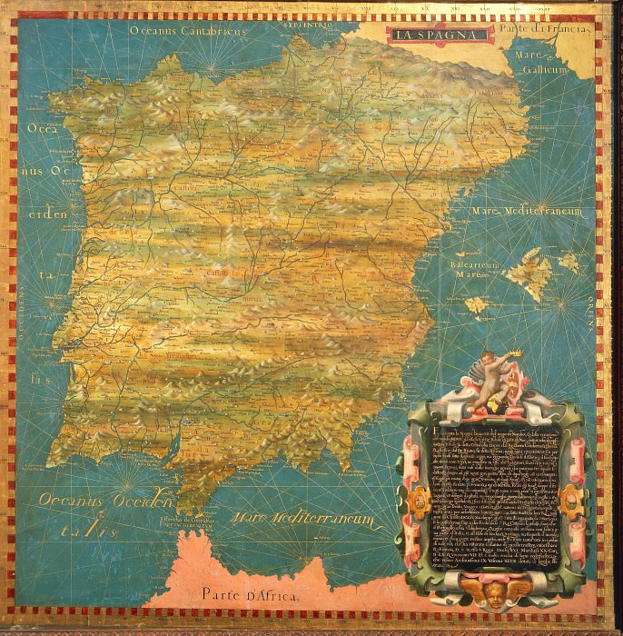 Map of the Iberian peninsula. Antique world maps HQ
