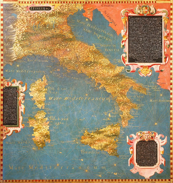 Map of Italy with Corsica and Sardinia. Antique world maps HQ