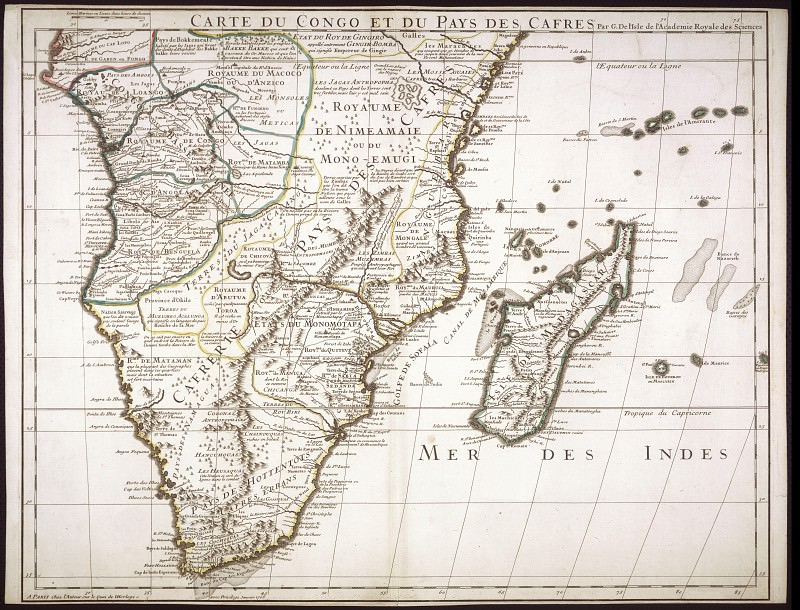 Guillaume Delisle - South Africa and Madagascar, 1708. Antique world maps HQ