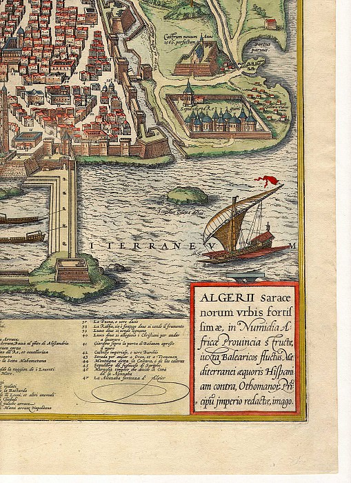 Georg Braun and Frans Hogenberg - Algiers, 1574. Antique world maps HQ