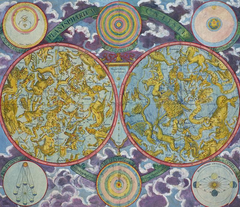 Георг Хрситоф Аймарт - Небесная карта созвездий. Древние карты мира в высоком разрешении - Старинные карты