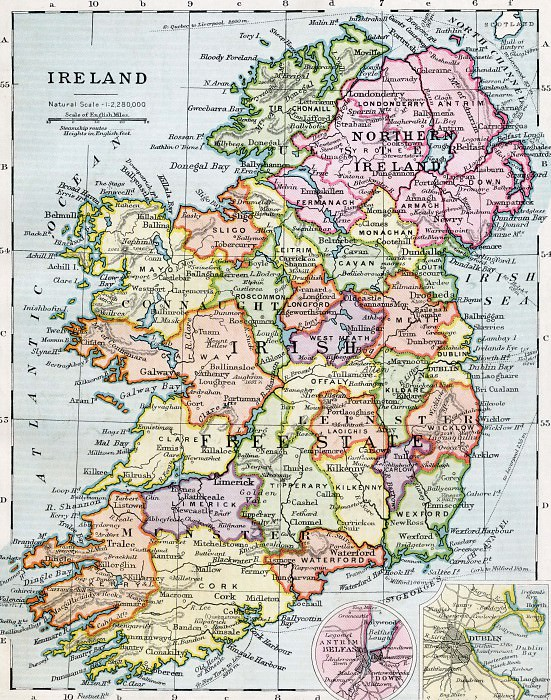 Map Of Ireland and Northern Ireland, 1930. Antique world maps HQ