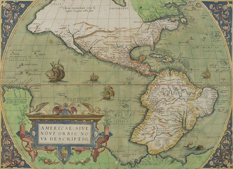 Abraham Ortelius - Map of North and South America, 1570. Antique world maps HQ