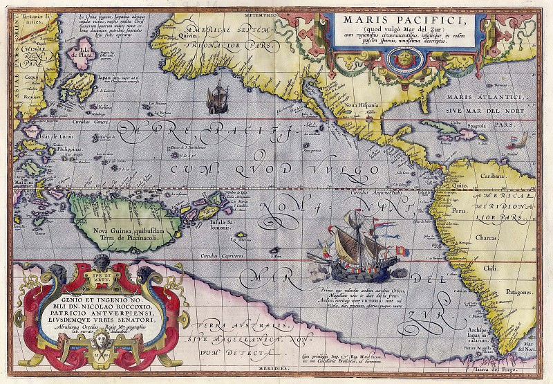 Abraham Ortelius - Pacific Sea, 1589. Antique world maps HQ