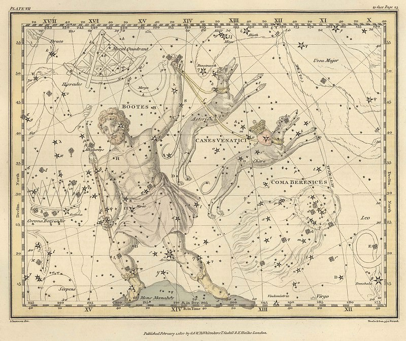 Bootes and Mons Maenalus, Canes Venatici, Coma Berenices, Quadrans Muralis. Antique world maps HQ