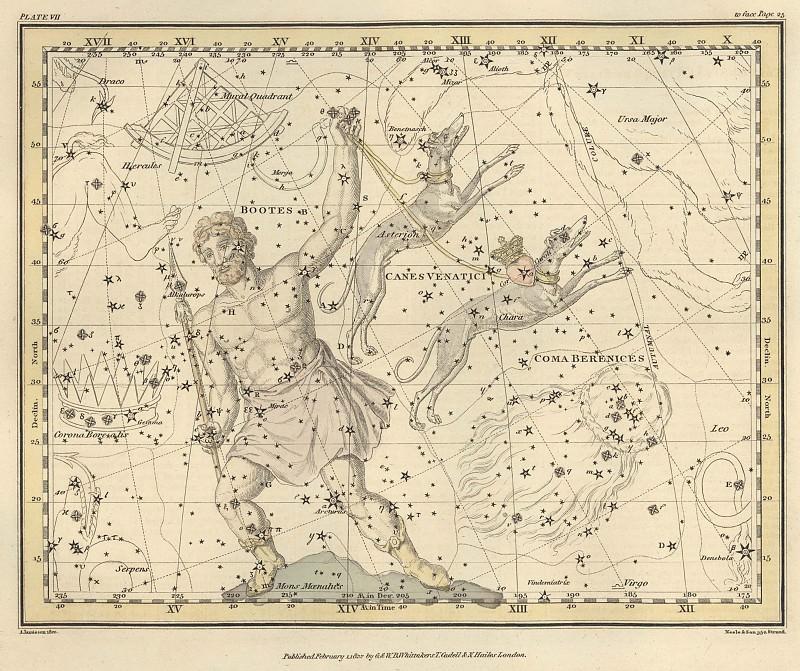 Волопас, Гончие псы, Сердце Карла, Гора Менала. Древние карты мира в высоком разрешении - Старинные карты
