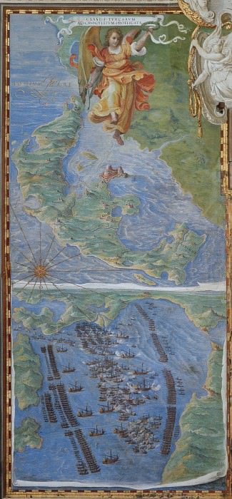 Island of Corfu and Battle of Lepanto. Antique world maps HQ