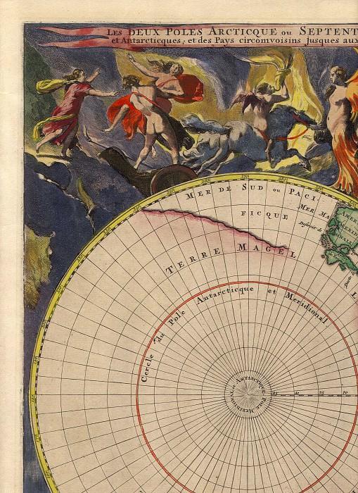 Корнелис Мортье - Северный и Южный полюса, 1720. Древние карты мира в высоком разрешении - Старинные карты