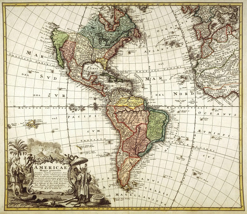 North and South America, 1746. Antique world maps HQ