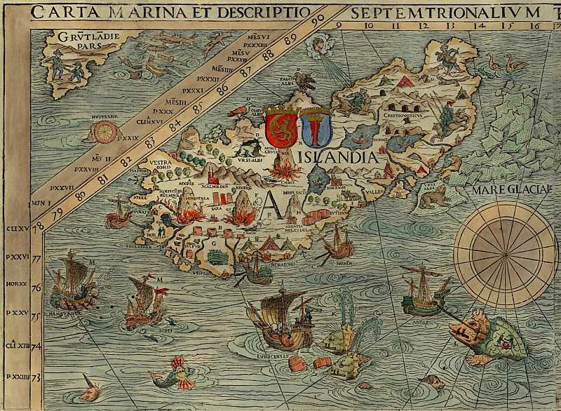 Olaus Magnus - Carta Marina, 1539, Section A: Iceland. Antique world maps HQ