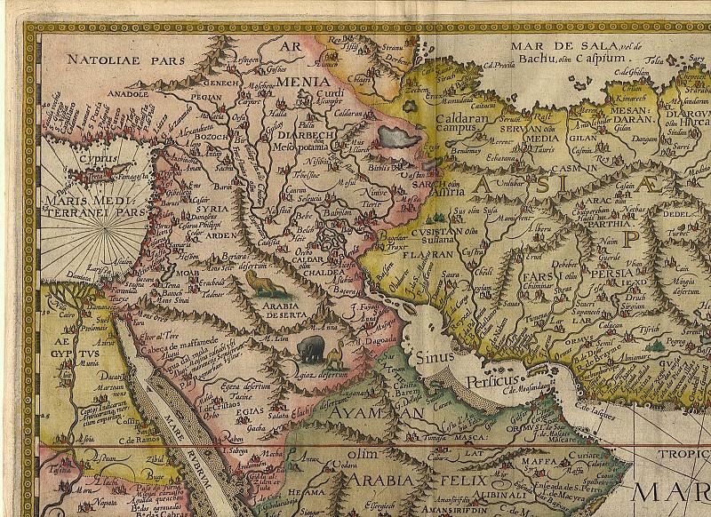 Ян ван Линсхотен - Аравия и Ост-Индия, 1596. Древние карты мира в высоком разрешении - Старинные карты