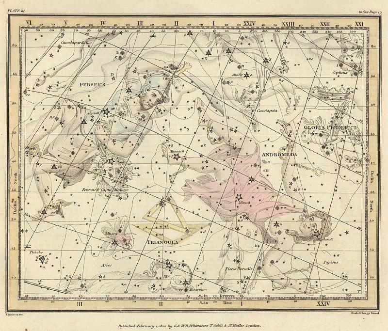 Персей, Северная муха, Треугольник, Малый мреугольник, Андромеда, Слава Фридриха II. Древние карты мира в высоком разрешении - Старинные карты