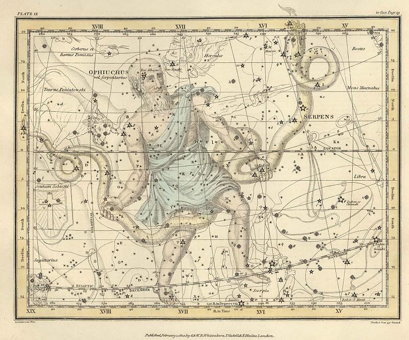 Ophiuchus, Serpens. Antique world maps HQ