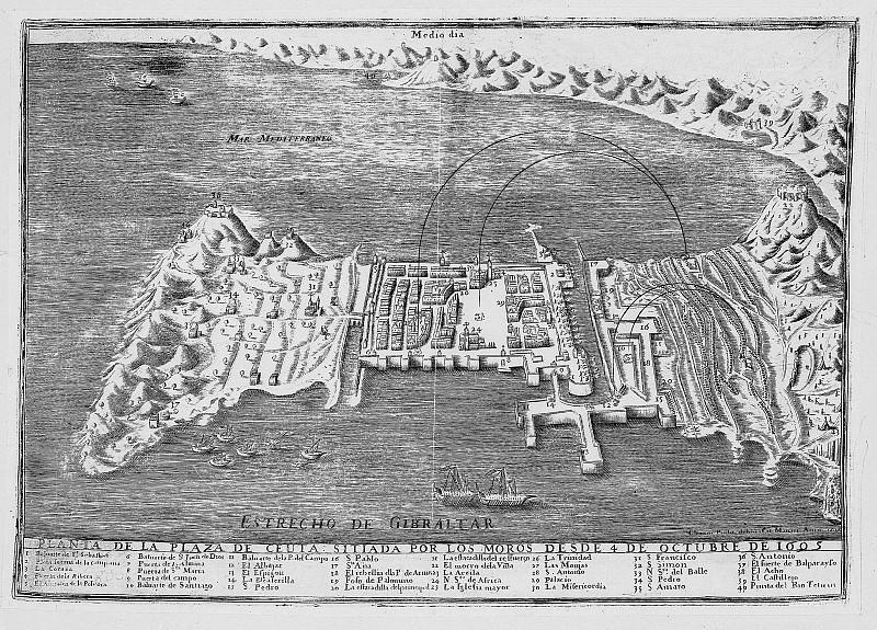 View of Ceuta, 1605. Antique world maps HQ