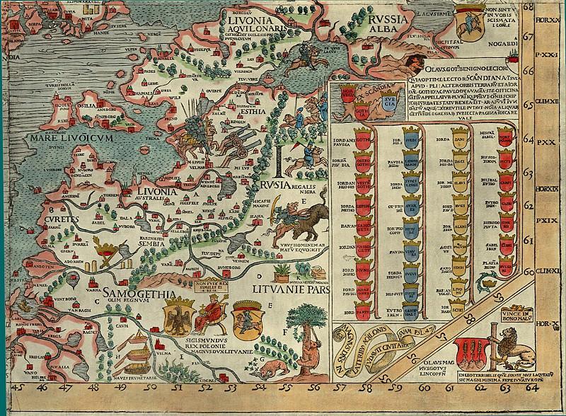 Olaus Magnus - Carta Marina, 1539, Section I: Russia. Antique world maps HQ