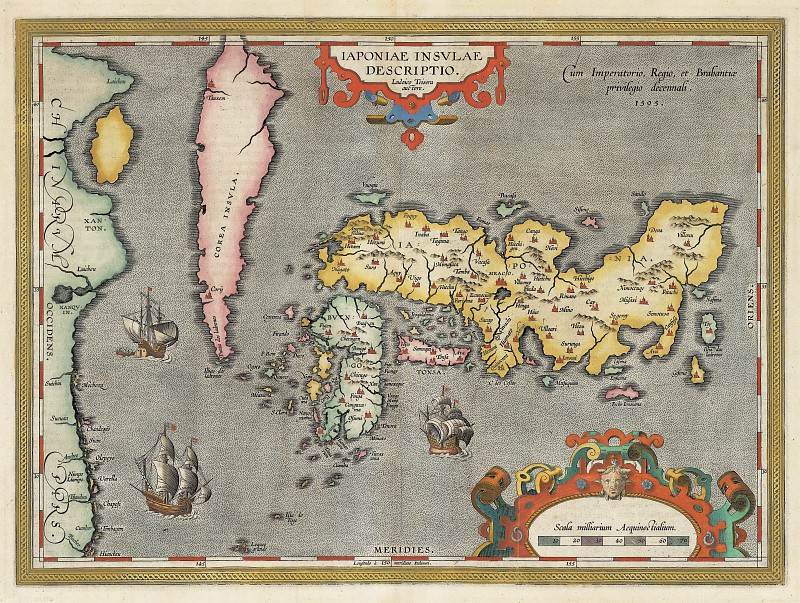 Абрахам Ортелий - Япония, 1595. Древние карты мира в высоком разрешении - Старинные карты
