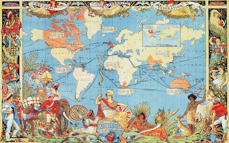 Карта мира, ок1886. Древние карты мира в высоком разрешении - Старинные карты