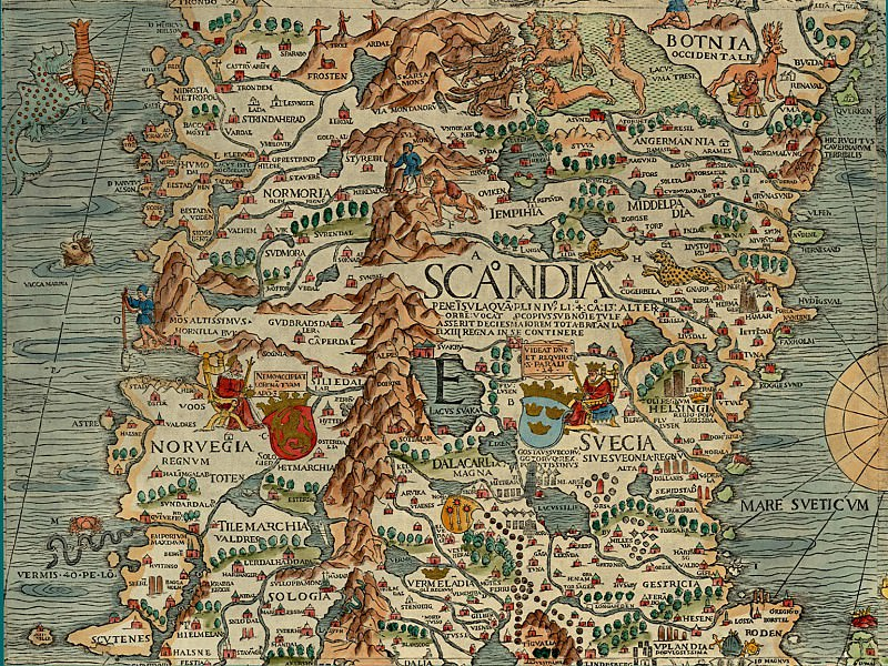 Olaus Magnus - Carta Marina, 1539, Section E: Norway and Sweden. Antique world maps HQ
