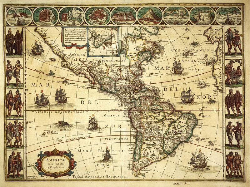 Willem Blaeu - New map of America, 1617. Antique world maps HQ