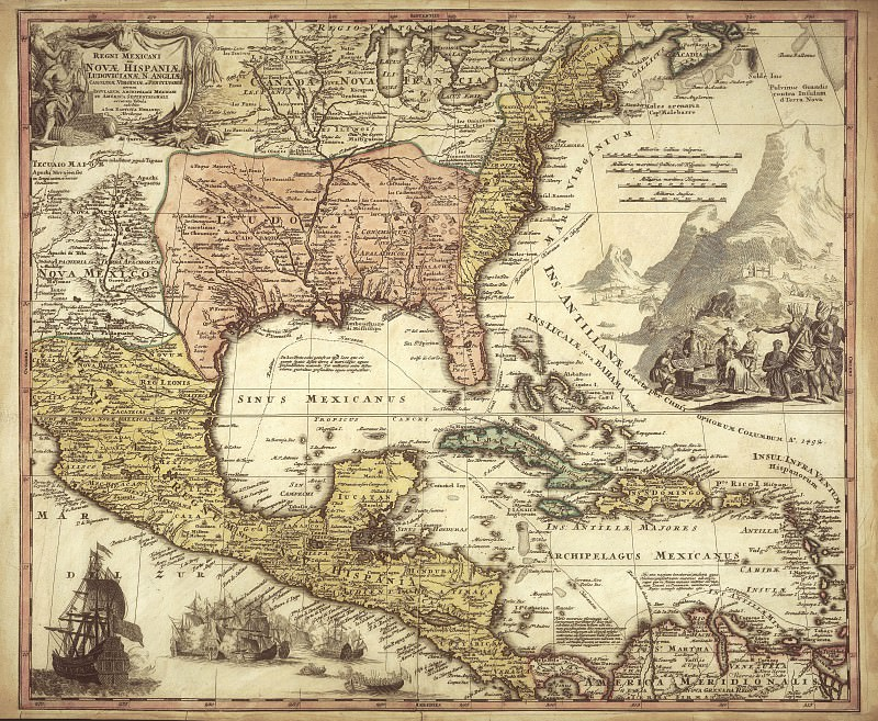 Spanish colonies, 1724. Antique world maps HQ