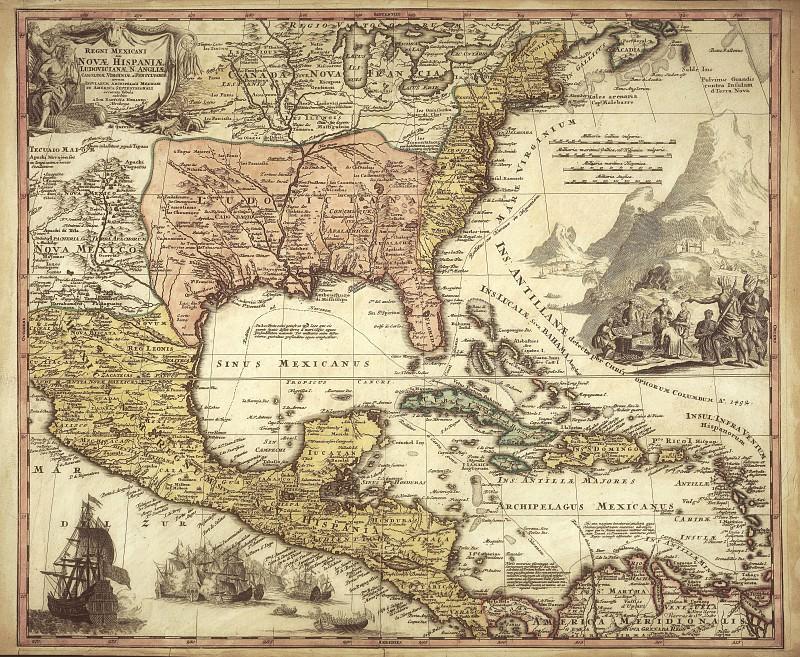 Испанские колонии, 1724. Древние карты мира в высоком разрешении - Старинные карты