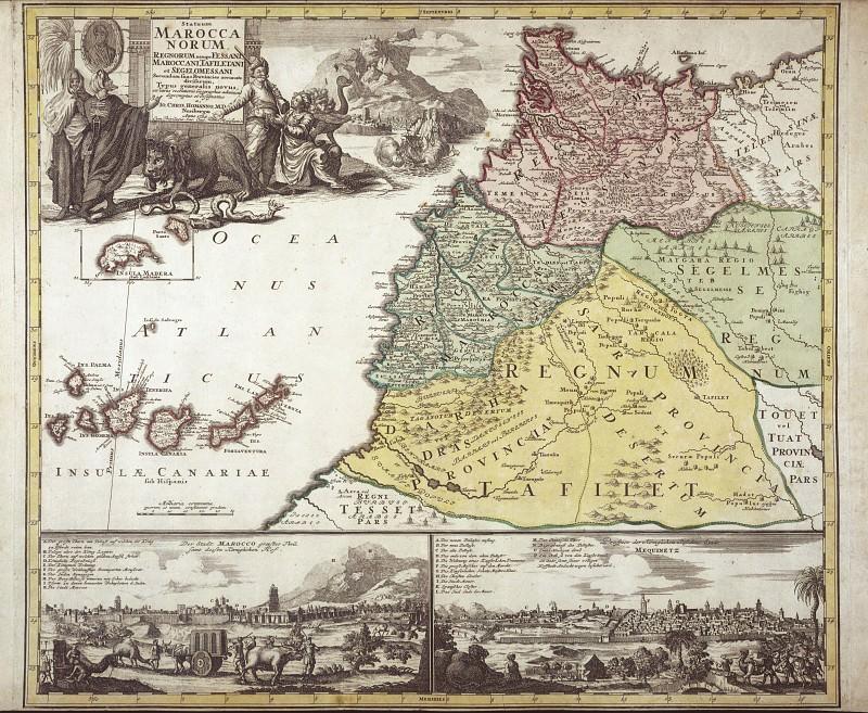 Johann Baptist Homann - North-West Africa, 1728. Antique world maps HQ