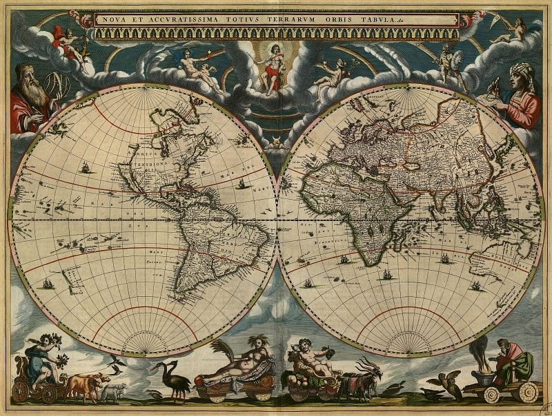 Jan Willemsz. Blaeu - Map of the World, 1664. Antique world maps HQ