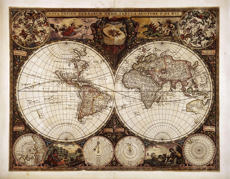 Frederik de Wit - Nova Orbis Tabula in Lucem Edita, c.1665. Antique world maps HQ