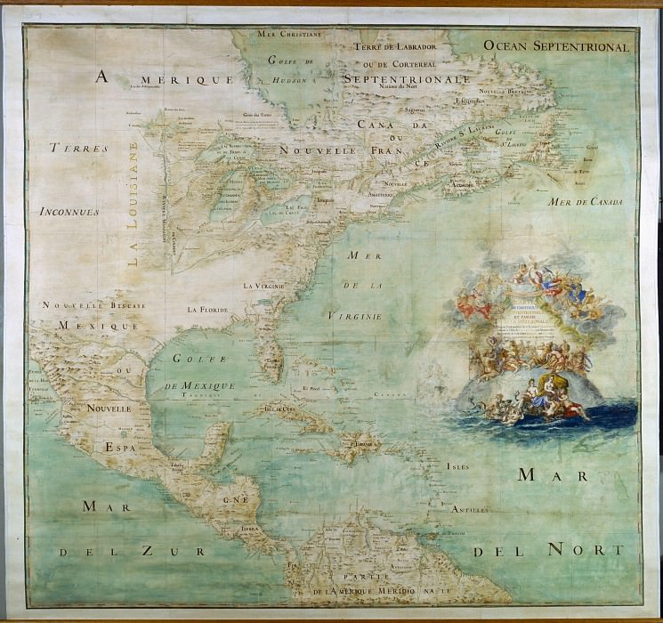 North America, the end of the 17th century. Antique world maps HQ