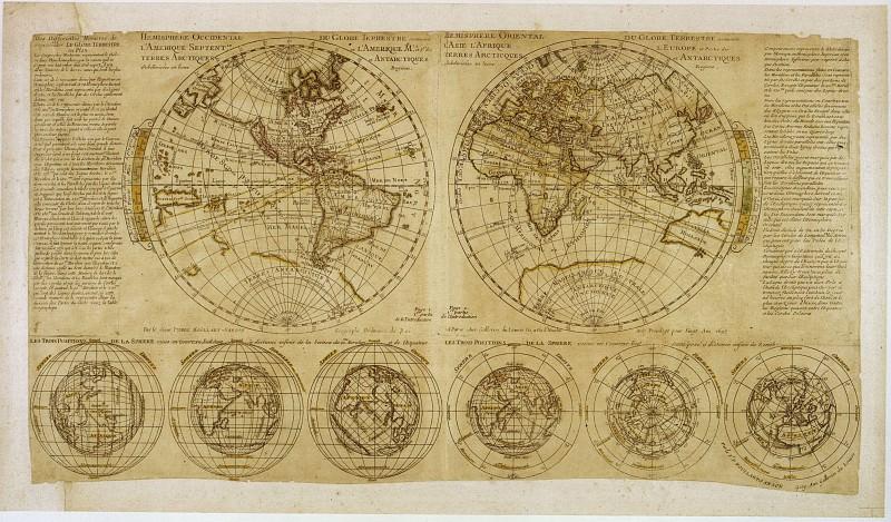 Пьер Муллар-Сансон - Планисфера Муллара, 1695. Древние карты мира в высоком разрешении - Старинные карты