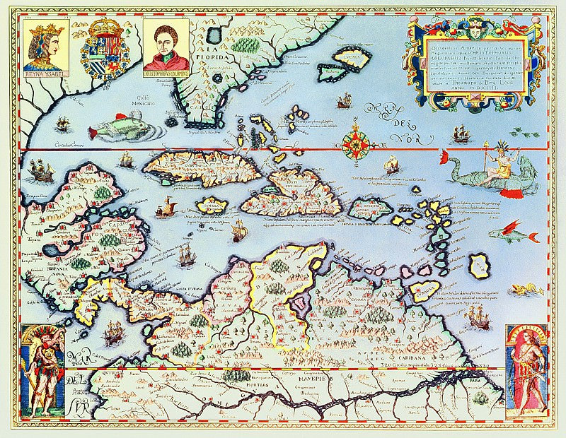 Theodore de Bry - Map of the Caribbean islands and the American state of Florida. Antique world maps HQ