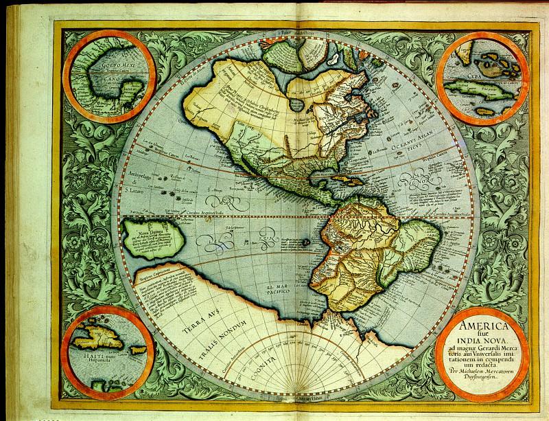 Gerhard Mercator - Virginiae item et Floridae, 1606. Antique world maps HQ