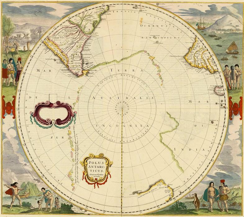 Хендрик Хондиус - Южный полюс, 1639. Древние карты мира в высоком разрешении - Старинные карты