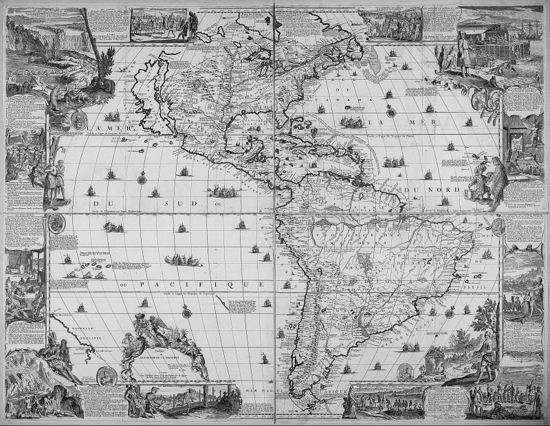 Nicolas de Fer - North and South America, 1698. Antique world maps HQ