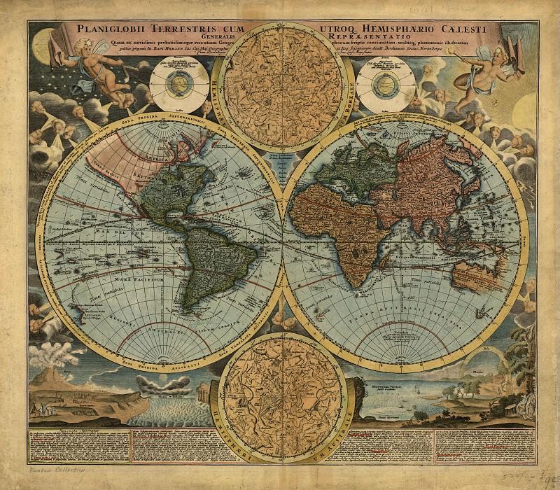 Johann Baptist Homann - Map of the world, 1716. Antique world maps HQ