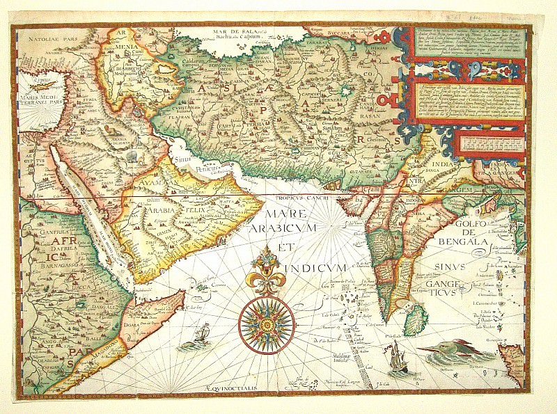 Jan van Linschoten - India and Arabia, 1596. Antique world maps HQ