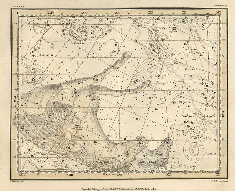 Pegasus, Equuleus. Antique world maps HQ
