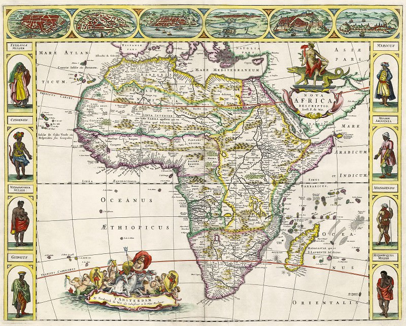 Frederik de Wit - Map of Africa, 1660-70. Antique world maps HQ